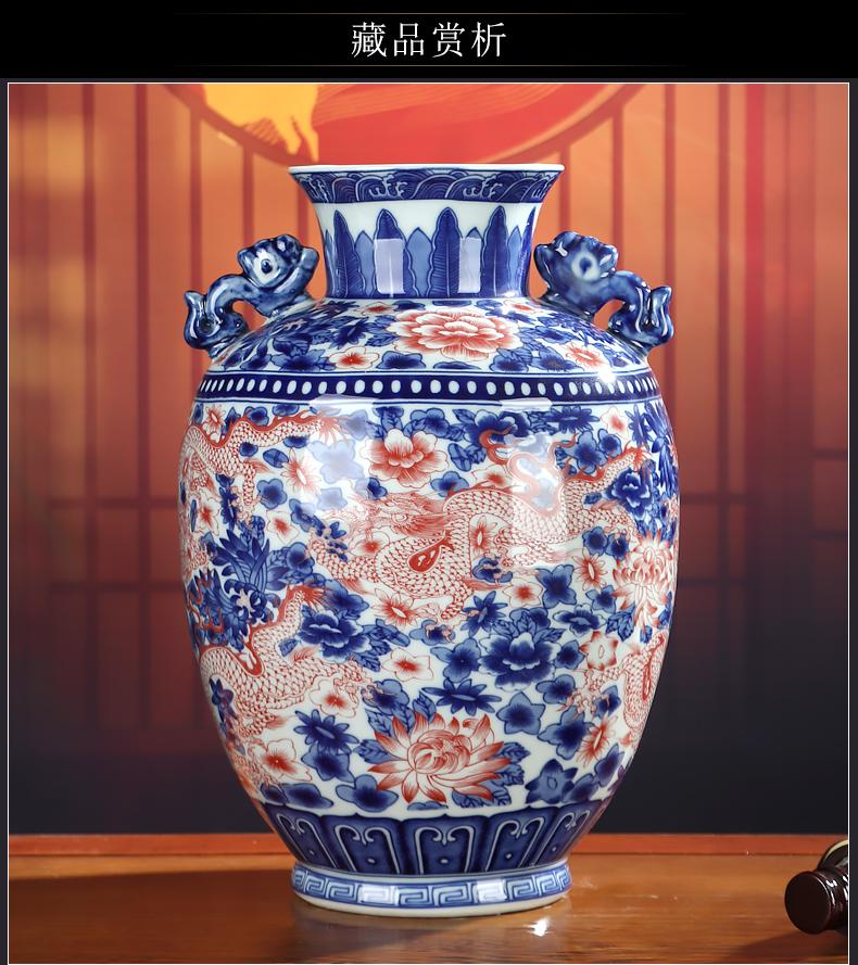 Youligong of blue and white porcelain vase furnishing articles of jingdezhen ceramic Chinese dragon flower arrangement sitting room decoration crafts antique bottles