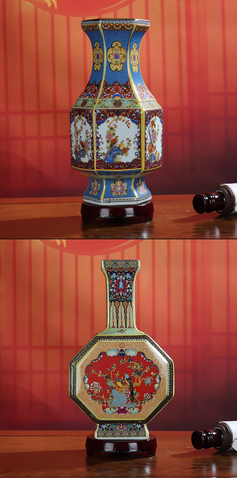 Zodiac furnishing articles sitting room of Chinese style antique vase is colored enamel up jingdezhen ceramics craft ornaments