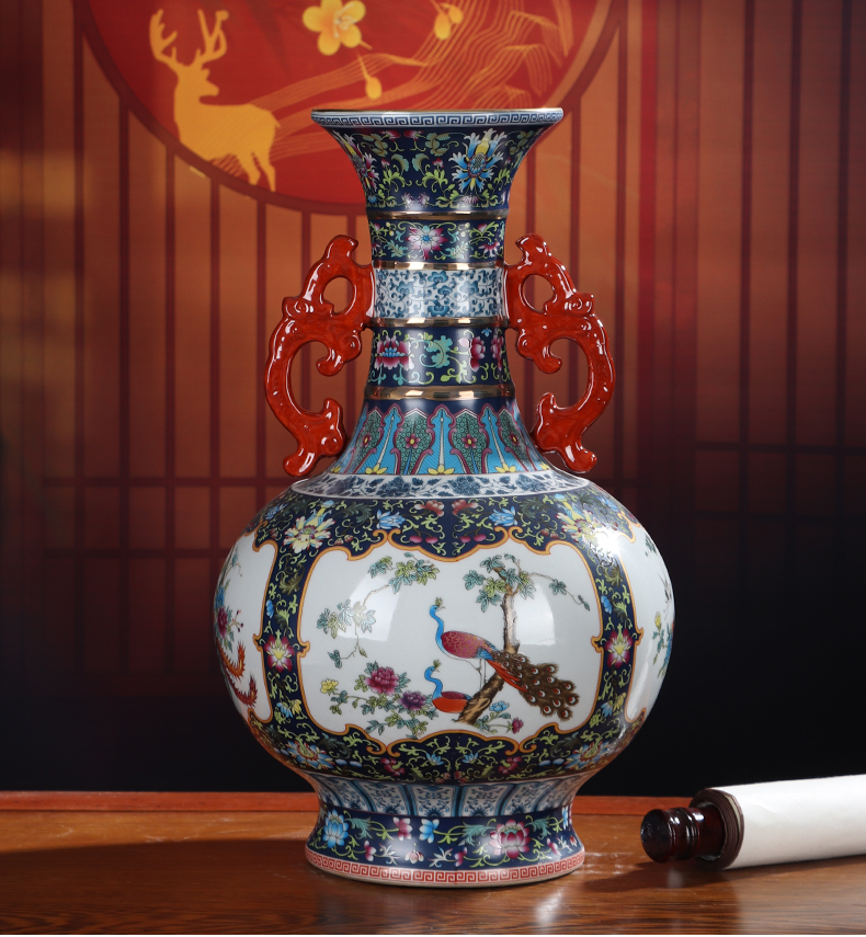 Archaize ceramic vase is placed in the Ming and the qing dynasties ears decorated Chinese jingdezhen sitting room decoration flower arrangement craft porcelain