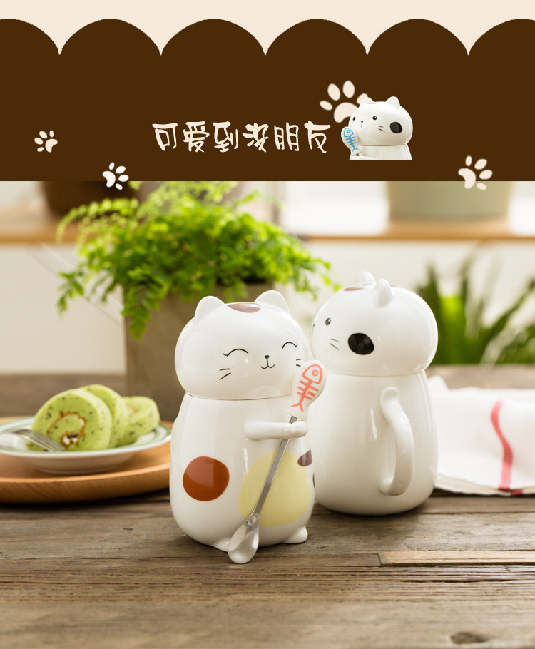 Lovely couples glass ceramic cup creative high - capacity mark cup with cover spoon coffee cup men 's and women' s cup