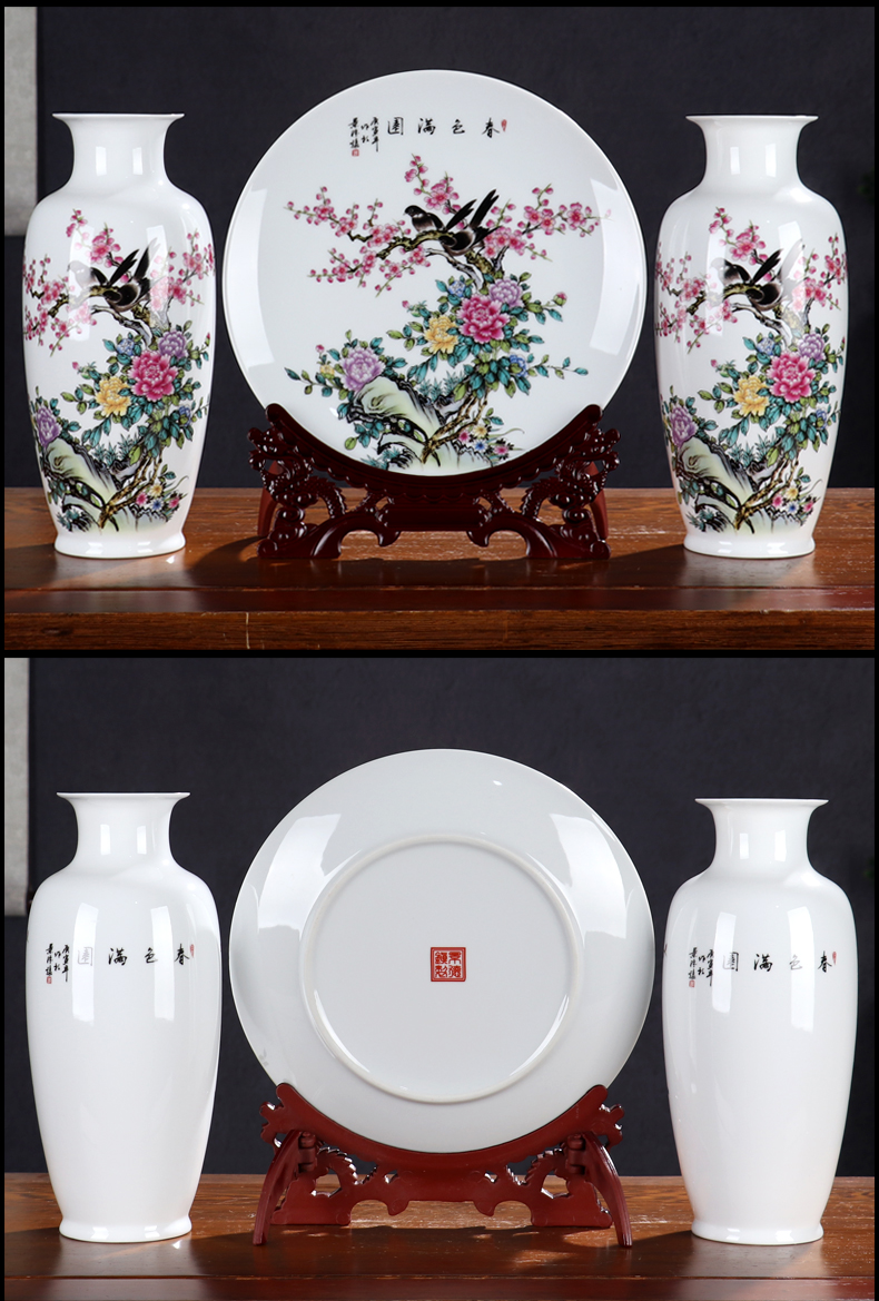Wine of new Chinese style household adornment furnishing articles of jingdezhen ceramics flower arranging rich ancient frame light sitting room key-2 luxury crafts