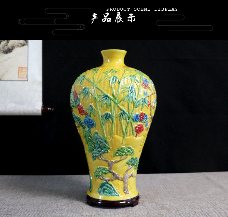 Anaglyph hand - made vases, jingdezhen ceramics craft furnishing articles dried flower arranging flowers sitting room adornment handicraft decoration