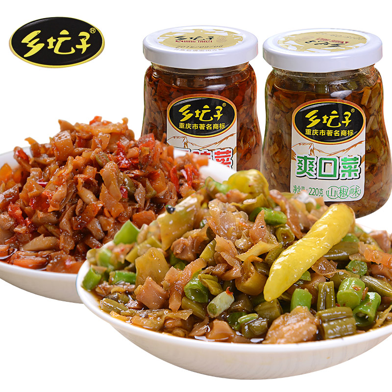 乡坛子爽口菜+开味菜2瓶装特色小吃榨菜咸菜酱拌饭拌面酱重庆特产