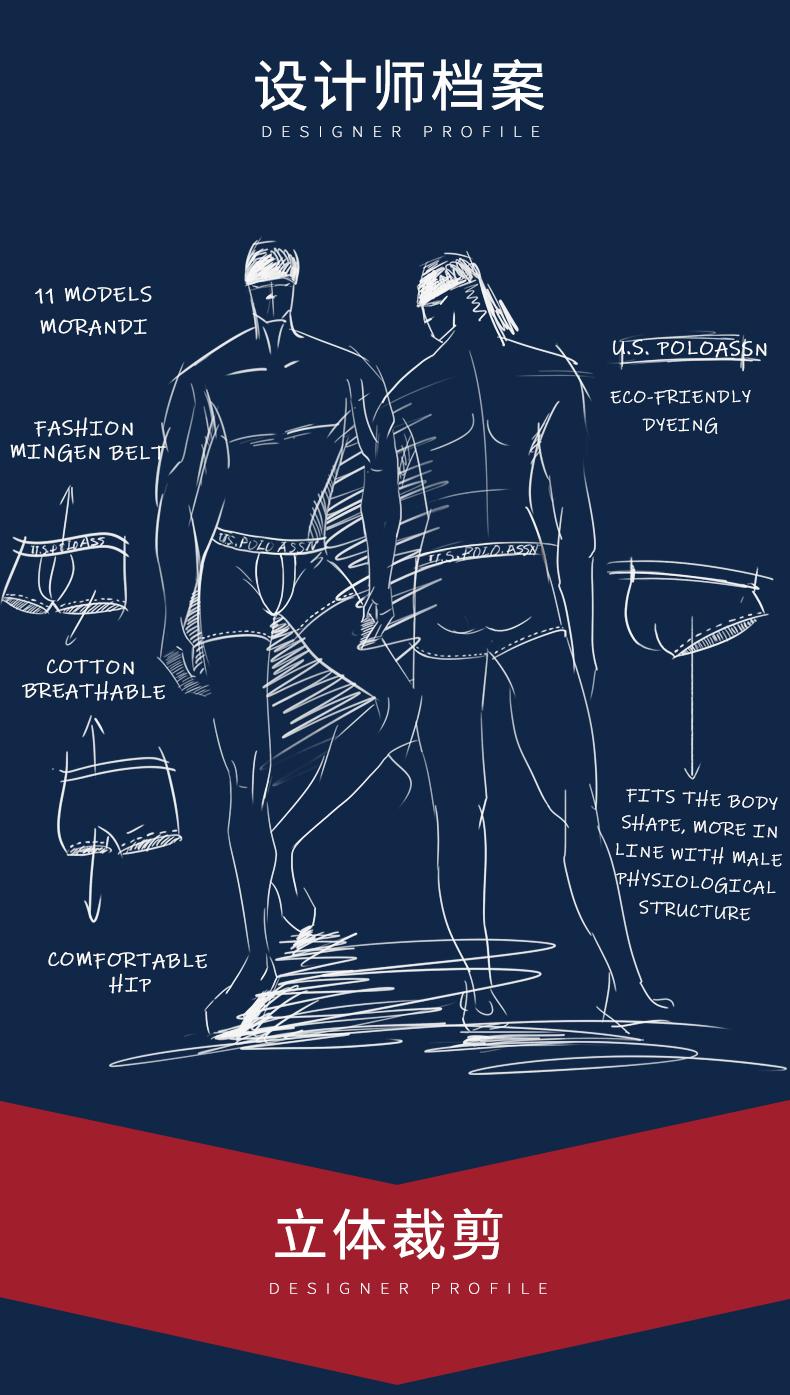 美国马球协会 US POLO 男士 100%精梳棉平角裤 3条 图2