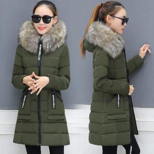 【莎梵】韩版中长款羽绒棉服外套