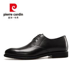Pierre Cardin men's shoes leather men's black leather shoes business formal dress Derby shoes British pointed wedding shoes breathable soft soles