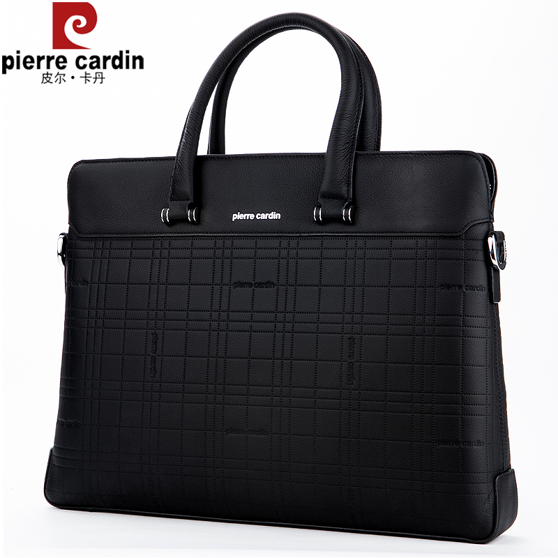 f50040d1a305 Pierre Cardin men s handbag cross-section business first layer leather  brand briefcase male computer bag leather men s bag