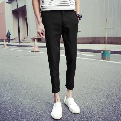 Autumn trousers solid color elastic feet pants Slim was thin nine pants casual pants men's 9 points trousers non-stick hair