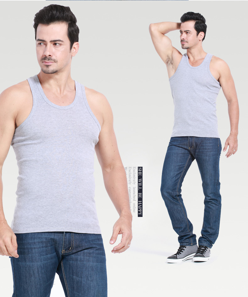 Chặt chẽ bông nam áo ghi lê nam mùa hè tự trồng căng cơ sở của nam giới thể dục thể thao mồ hôi vest triều