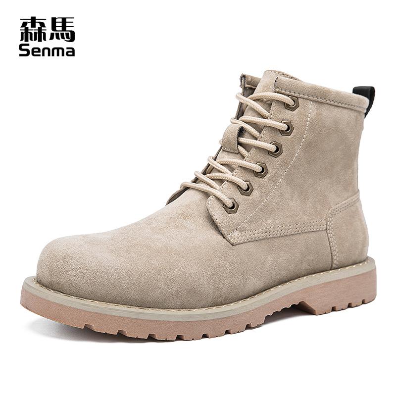 森马男鞋2018新款冬季系带马丁靴男短靴韩版潮流英伦风高帮工装靴