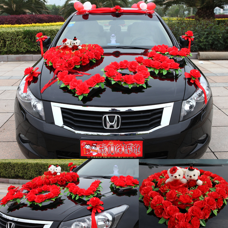 USD 35.00] Creative Korean wedding car decoration set flower flower ...