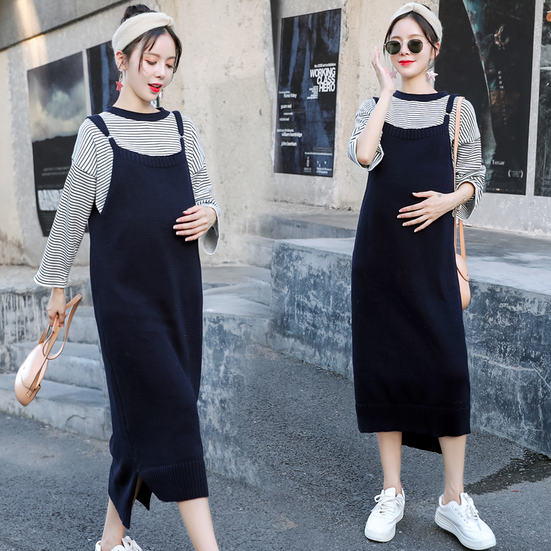 d861b1a893a 2018 new maternity autumn and winter models loose sweater women s bottoming  shirt pregnant women autumn set fashion models dress