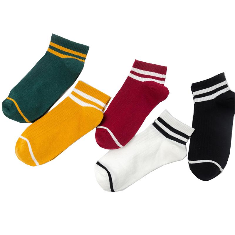 5双袜子女船袜纯棉浅口夏季薄款可爱学生运动防臭糖果色单鞋短袜
