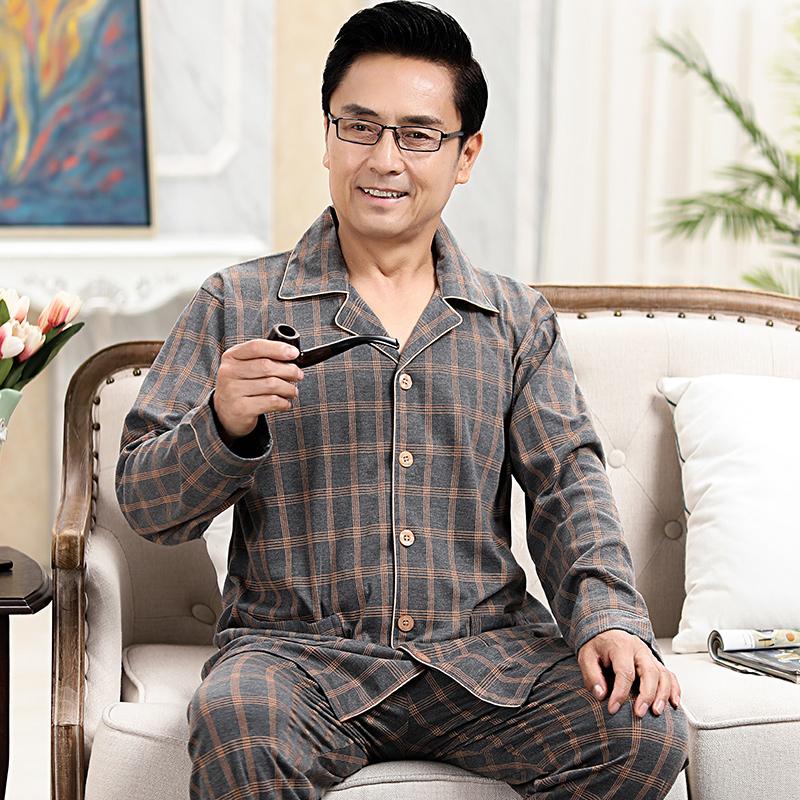 春秋季薄款长袖男士中年睡衣男式纯棉长裤夏中老年装家居服长袖。