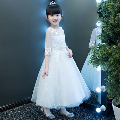公主裙女童蓬蓬纱长款白色花童礼服