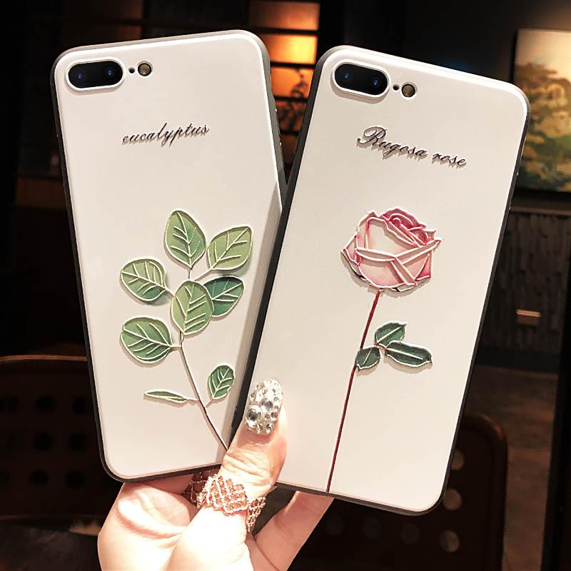 苹果iphone7plus手机壳全包8plus防摔8x保护套iphonex软壳xr硅胶xs浮雕xsmax新款文艺女款6s玫瑰花6个性ins