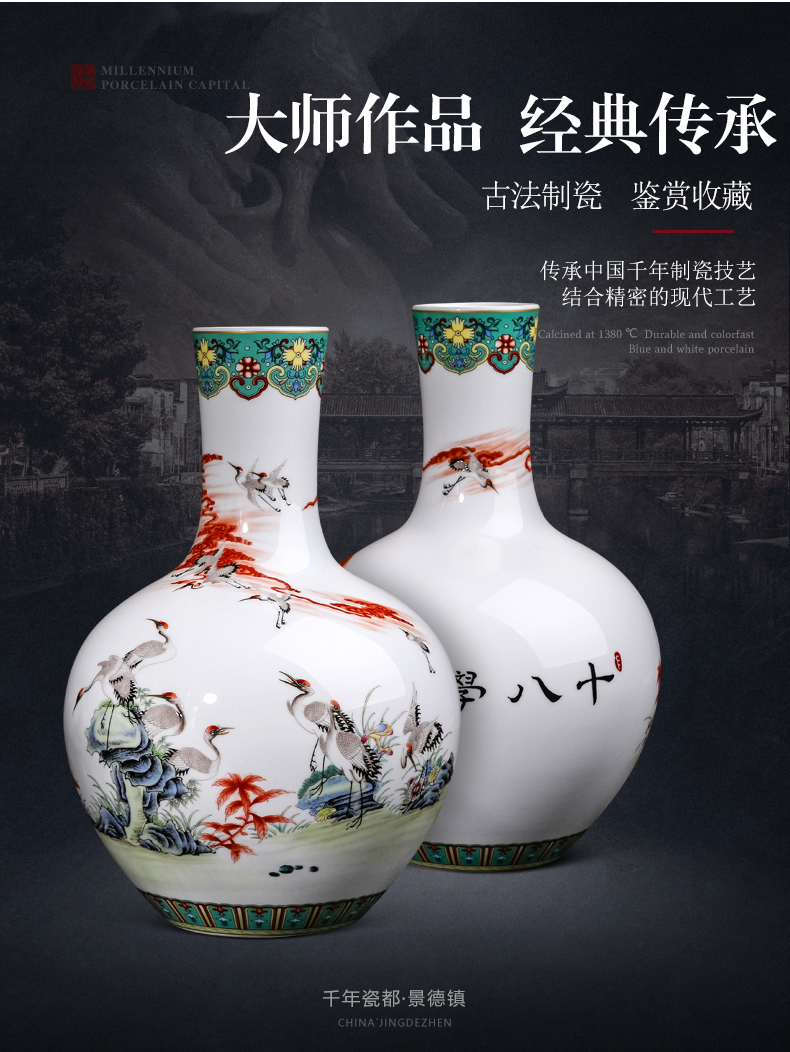 Famous jingdezhen ceramics powder enamel vase furnishing articles sitting room porch rich ancient frame of Chinese style household adornment arranging flowers