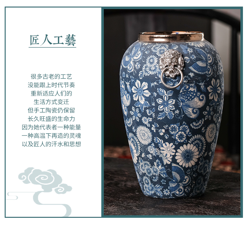 Jingdezhen ceramics archaize dried flowers of modern Chinese style living room home decoration flower arrangement of blue and white porcelain vase furnishing articles
