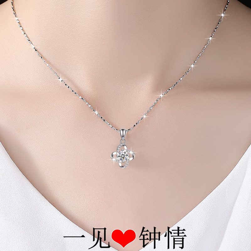 999 Sterling Silver Necklace Female Clavicle Chain Japan And South Korea Jewelry Girlfriend To