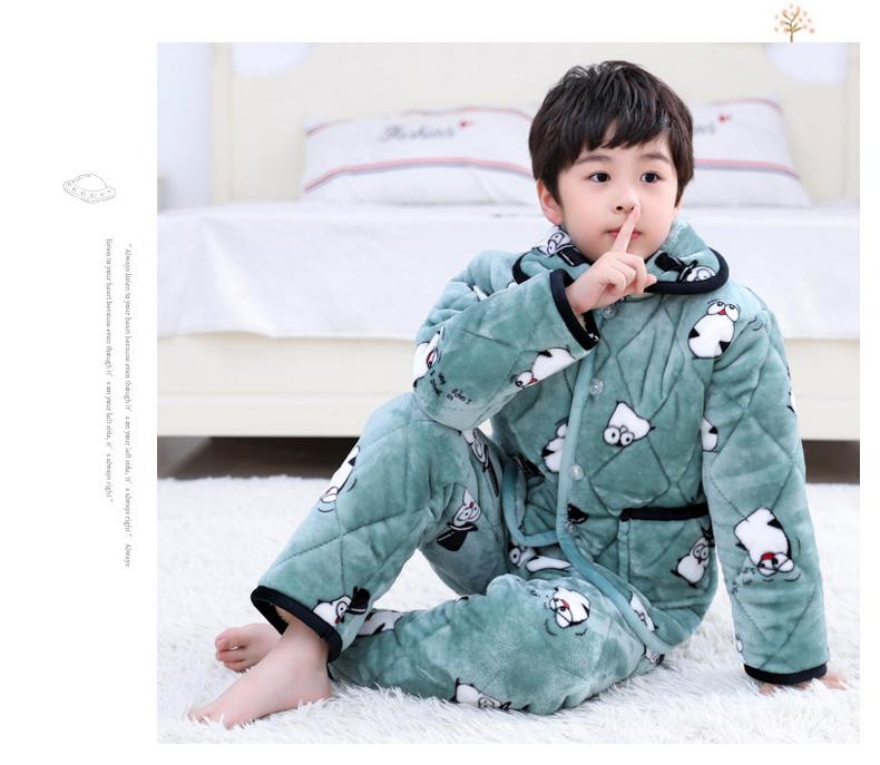 秋冬季珊瑚绒儿童睡衣法兰绒女童男童加厚款宝宝小孩子家居服男孩详细照片