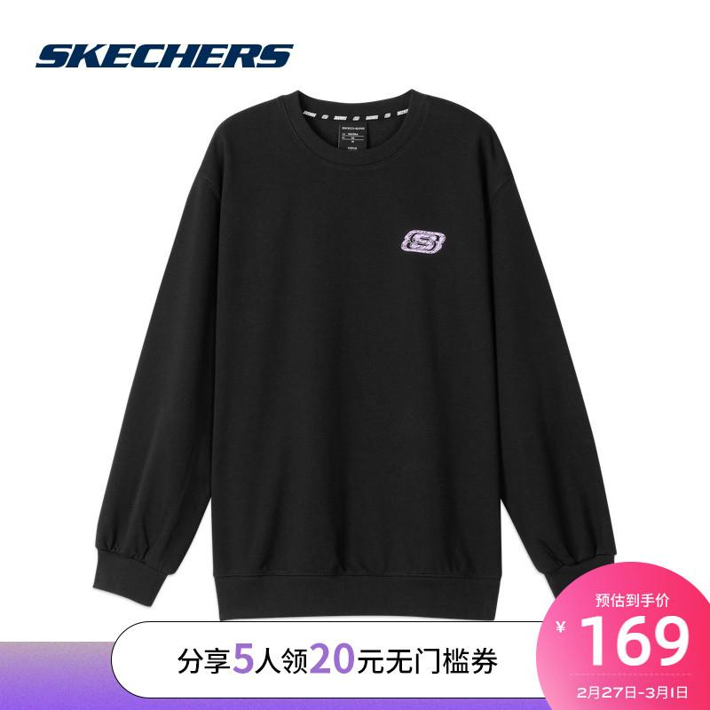 SkechersSKECHERS冬季新品运动宽松卫衣女子针织圆领套头衫L320W218