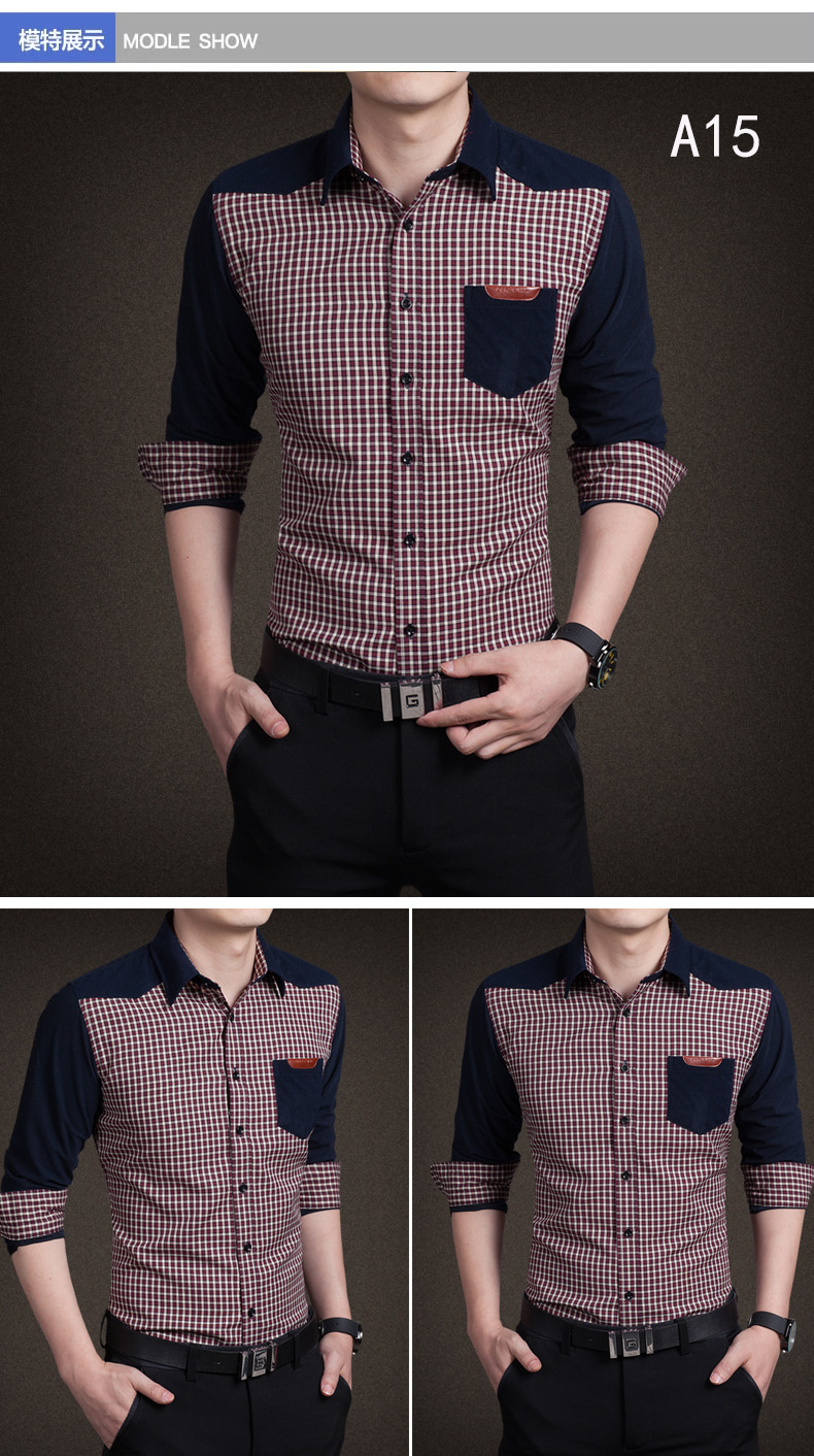 YMV spring new men's shirt long-sleeved teen thin Korean shirt slim casual stitching fashion shirt 49 Online shopping Bangladesh