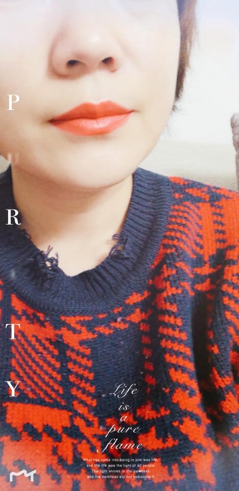 小品牌——施蒂的柔雾口红05橘红色试色