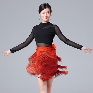 Latin dance dress for women mesh sleeve long sleeve top tassel skirt performance costume women  salsa chacha dance dress