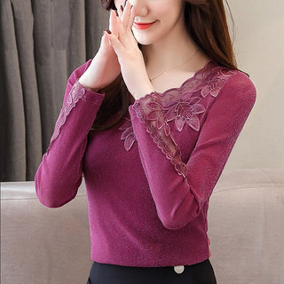 Warm clothes women's new autumn long-sleeved mesh top women's winter large size plus velvet thick lace bottoming shirt