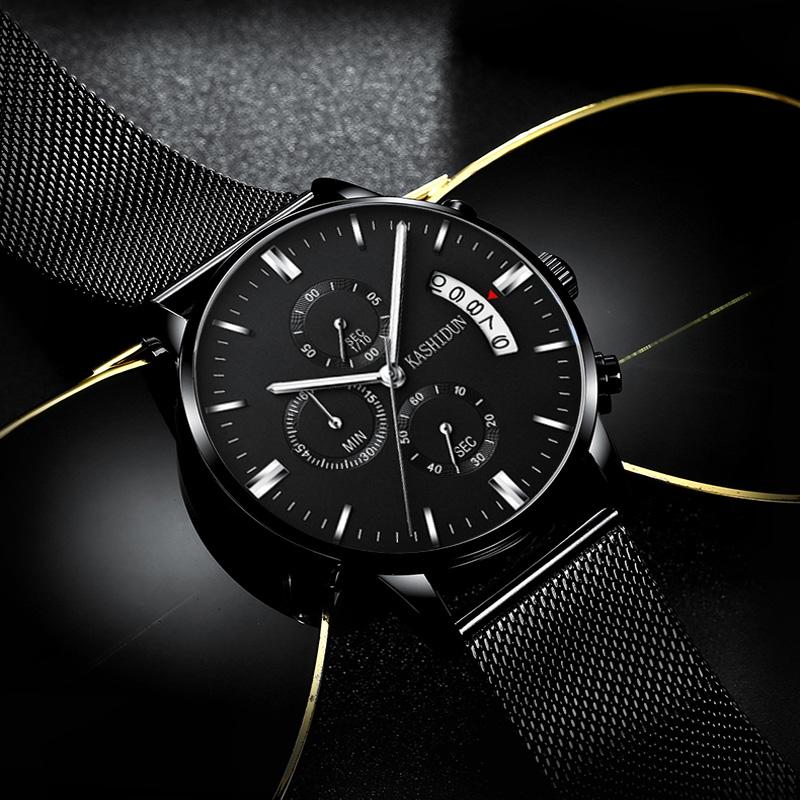 男士卡诗顿手腕皮带v男士石英表防水时尚潮流夜光正品男表手表表