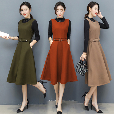 2017 winter new women were thin woolen strap dress set fall and winter within the vest dress two sets of tide