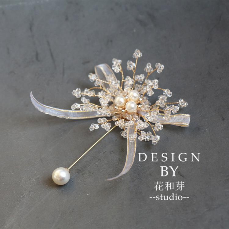 Nguyên thủ công đẹp nặng ngành pha lê từ trâm cài cô dâu chú rể phù dâu đám cưới kỷ niệm hoa tay - Trâm cài