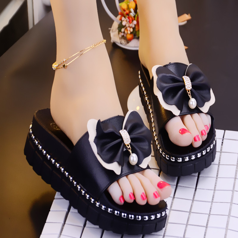 7012b6e32395dd New Korean version of the Pearl slippers female summer slope with non-slip  sandals with