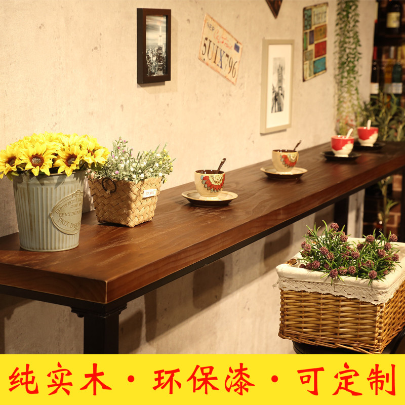 Vintage Wrought Iron Cafe Against The Wall Bar Table Home Living Room Bar  Table Long Table ...