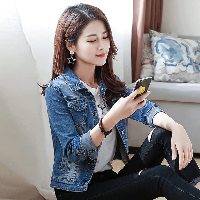 Denim jacket female 2020 self-cultivation new spring and autumn ladies short section Korean version of the women's net red spring tide