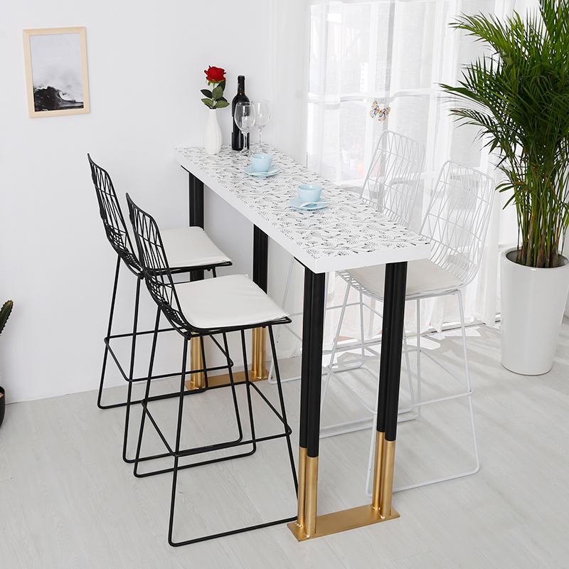 Nordic Solid Wood Bar Table Home Starbucks Cafe Bar Table And Chairs  Combination Wall Narrow Table