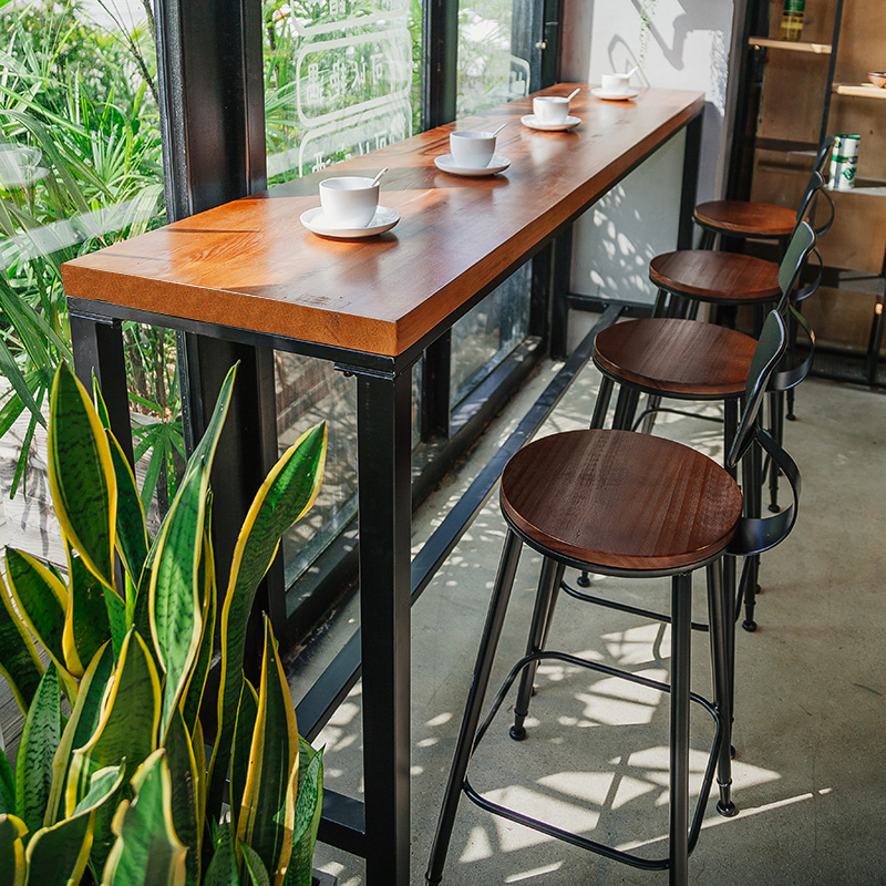 Starbucks Solid Wood Bar Table Iron Bar Table High Table Bar Tables And  Chairs Combination Of