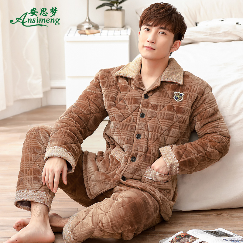 Winter coral velvet pajamas men s quilted jacket winter flannel thickening  three large yards home service suits 9466d5f5b