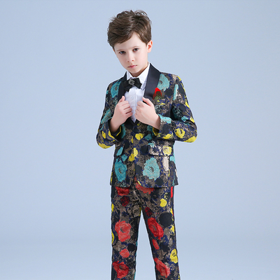 Children's catwalk evening dress boys flower costumes piano show host suit suit