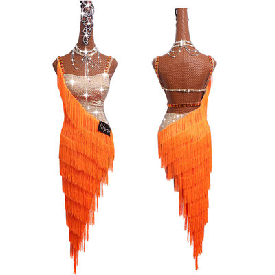 Sexy Latin Dance Dresses For Ladies Orange Cocktail Braces Dresses Young Female Women Ballroom Tutu Tassel dresses