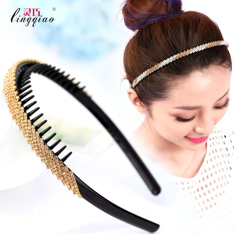 South Korea hair band tooth headband Full Diamond thin headband toughness  strong hair before the clip 3b0665b899f