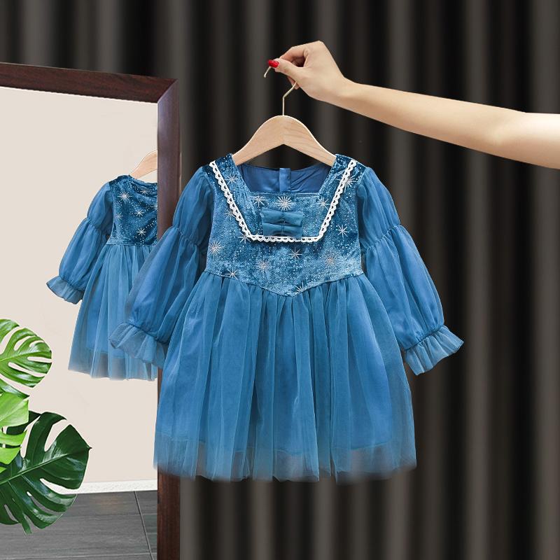 爱莎公主裙春季女童连衣裙春秋洋气女孩冰雪奇缘生日礼服艾沙裙子