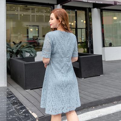 尘伊夏装新款大码女装OL气质V领短袖收腰显瘦蕾丝连衣裙H72