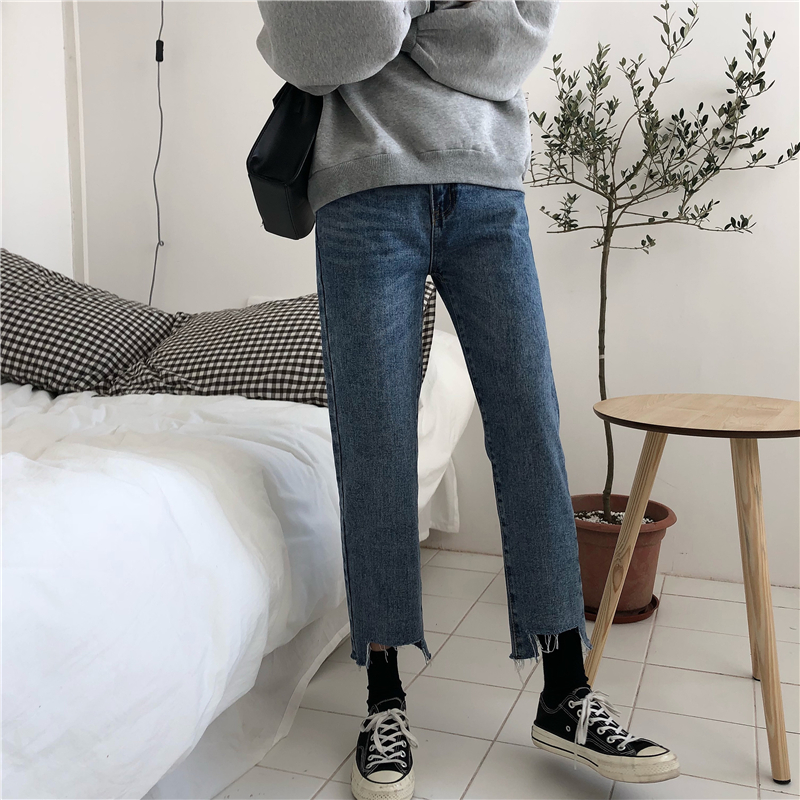 cbc5f04cd9e Large yard wind pants female spring students loose fat mm nine points jeans  was thin 200 kg ulzzang straight pants