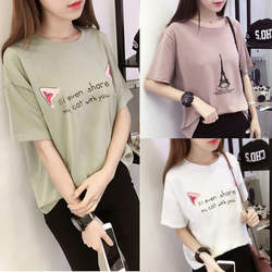 Buy one get one / two 29 yuan summer new short-sleeved T-shirt women's round neck loose Korean printing jacket students