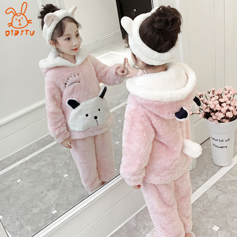 bd0ef1eedb55 USD 106.98  Children flannel pajamas autumn and winter girls coral ...