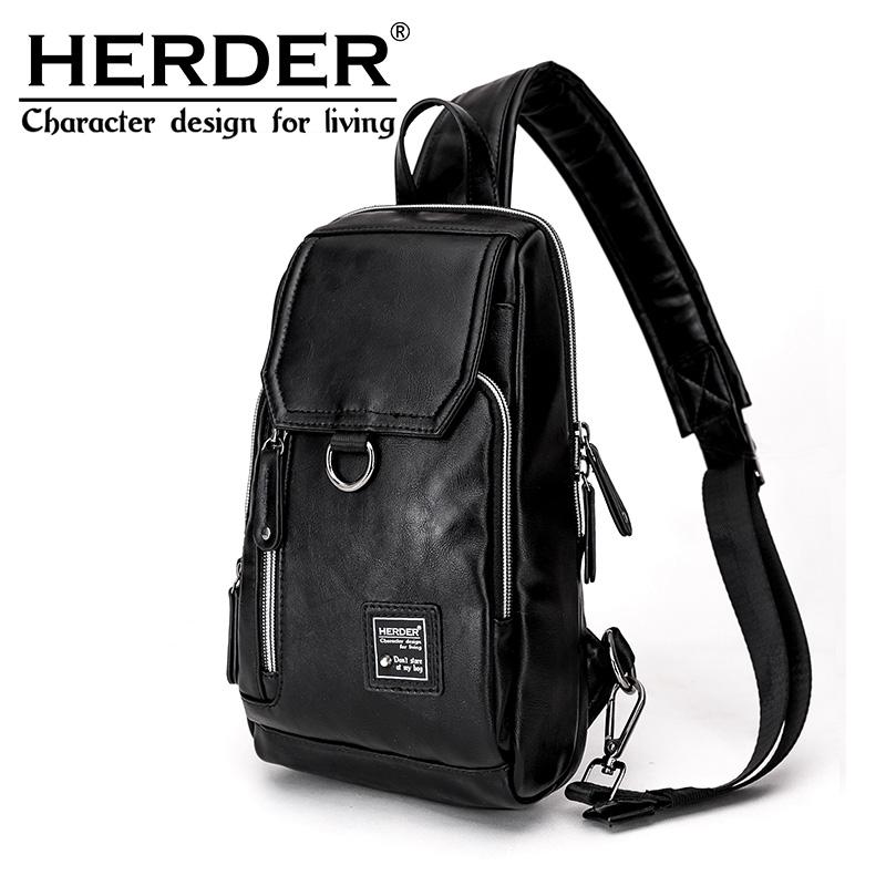 HERDER/赫登尔胸包男包斜跨休闲男士单肩包斜挎包韩版腰包小背包