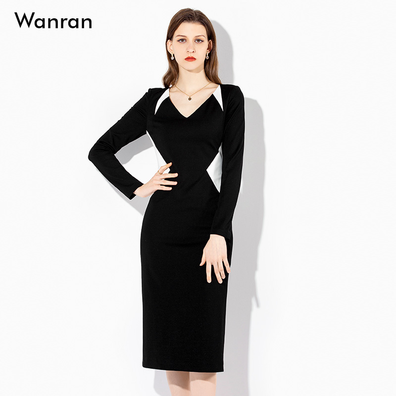 2021秋装新款时尚黑白气质V领显瘦收腰罗马针织连衣裙职业中长款