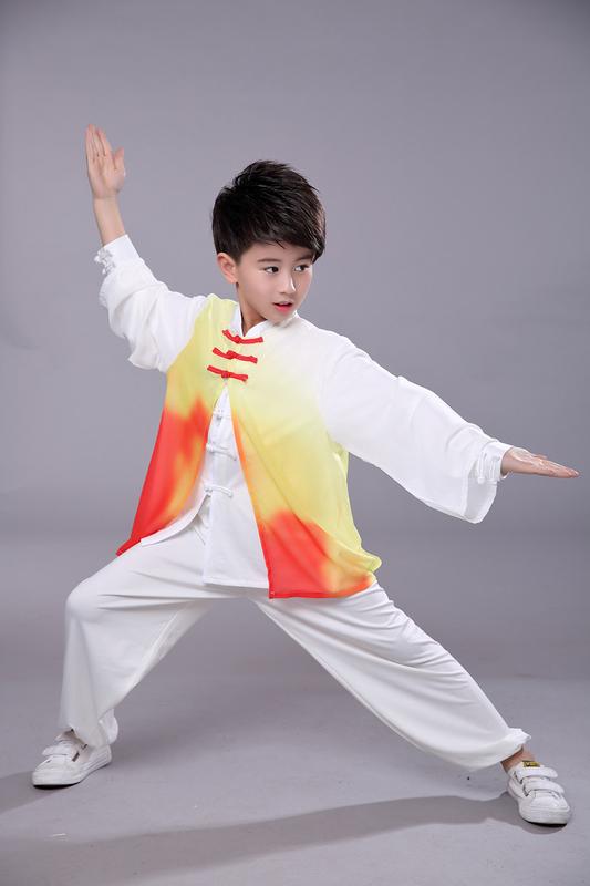 Boys Martial arts Kungfu & Tai-Chi Uniforms for Girls Children Taiji costume martial arts performance suit men and women tapered gauze training suit summer performance training suit long sleeve