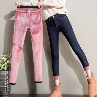 Winter plus velvet jeans women high waist army slim Korean version of the small foot pants are thin, wear trousers 2020 new
